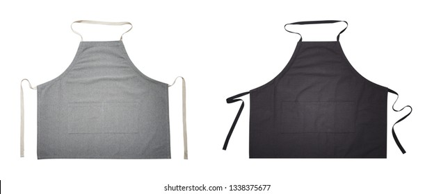 Black and gray apron for kitchen top view. Isolated on white background.. Mock up