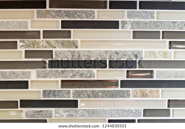 Pleasing Black Gray Beige Silver Tile Backsplash Stock Photo Edit Interior Design Ideas Gentotthenellocom