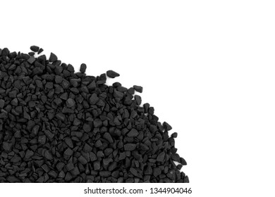 Black (gray) fine rubble isolated on white background