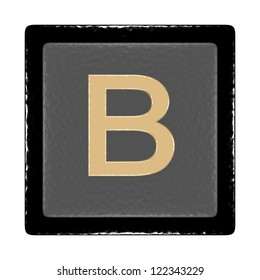 black and gray icon with a leather texture and the letter b