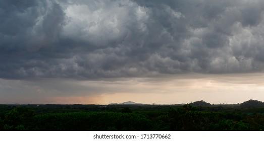 Black and gray rain clouds Going to rain