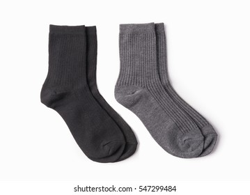 Black and gray socks isolated on white background.