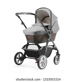 Black and Gray Stroller Isolated on White. Side View of Pushchair and Carrycot with Canopy and Swivel Wheels. Baby Transport. Infant Carriage Seat. Travel System or Pram with Elevators and Raincover