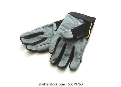 Black and Gray Work Gloves on White Background
