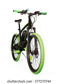 Black and green electric bike. Isolated on white, clipping path included