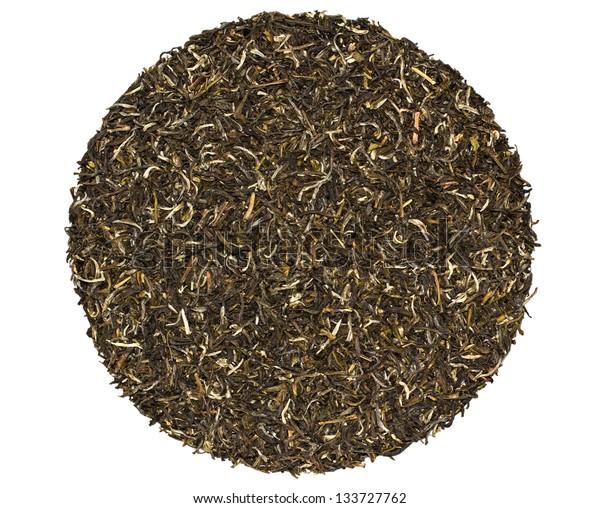 Black green jasmine tea on a white background