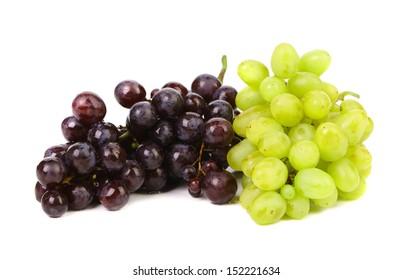 Black and green ripe grapes.