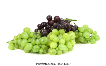 Black and green ripe grapes. Isolated on a white backgropund.