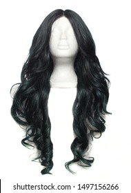 Black With Green Wig on Mannequin head with white background