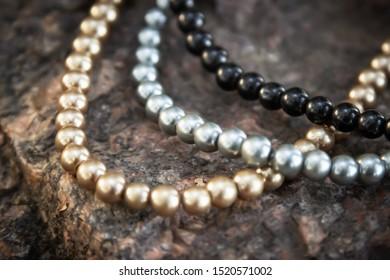 Luxury Anniversary Jewelry Double Square Rhinestone White Pearl Strand Necklace