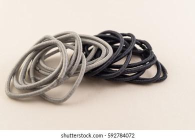 Black and grey hair ties