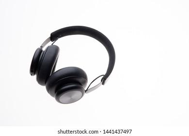 black grey headphones isolated on white background
