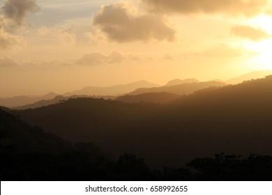 Black and grey mountain silhouette, San Ramon, Nicaragua, Central America