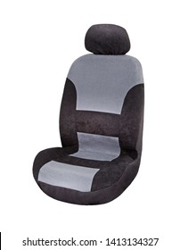 Black and grey velours car seat cover with headrest, upper front side view, isolated on white