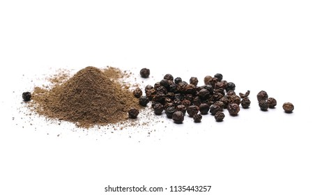 Black ground pepper isolated on white background