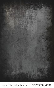 Black  grunge metal textured wall background with scratches.