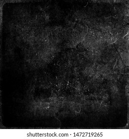 Black grunge obsolete scratched background, old film effect, distressed scary texture with frame