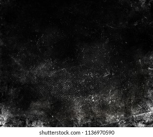 Black grunge scratched background, distressed old scary texture