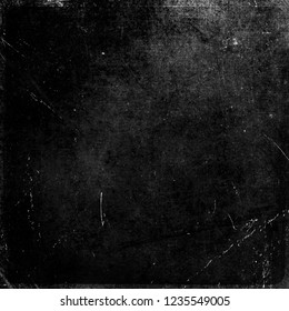 Black grunge scratched scary horror background, old distressed texture