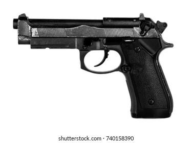 black gun (airsoft) isolated on white