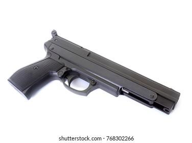 black gun in front of black background