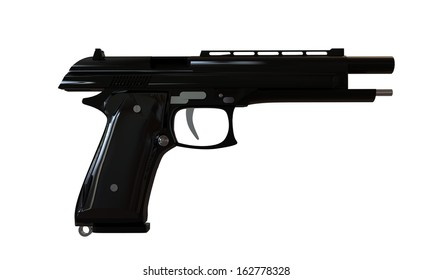 black gun isolated on white background