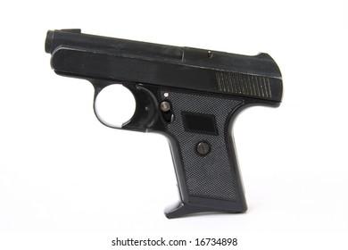Black gun on the white background