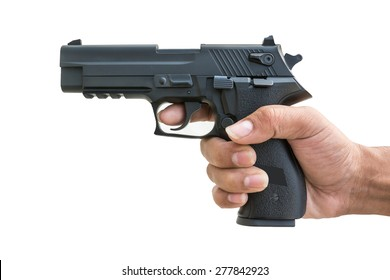 A black gun, original copy, isolated on white.