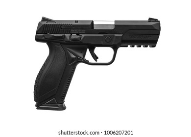 black gun pistol isolated on white background