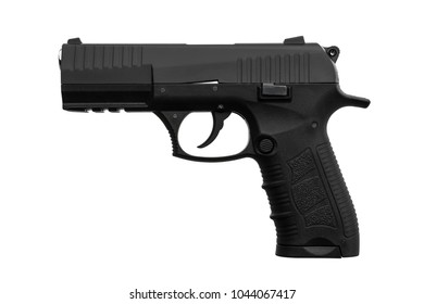 black gun pistol isolated on white background