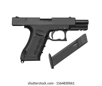 Black gun pistol isolated on white background. Short-barreled weapons for sports and self-defense. Armament for police units, special forces and the army.