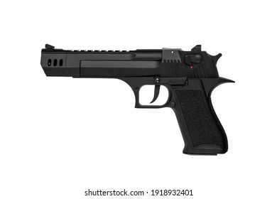 Black gun pistol isolated on white background. A large and powerful modern gun. Weapons for sports and self-defense. Armament of police, army and special units.