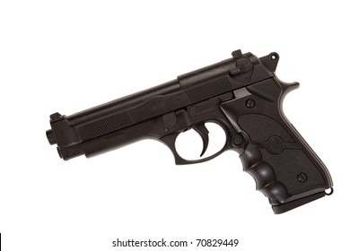 Black gun profile lying down isolated on white