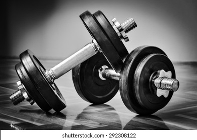 Black gym dumbbell with disks, black and white photo
