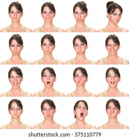 black hair adult caucasian woman collection set of face expression like happy, sad, angry, surprise, yawn isolated on white