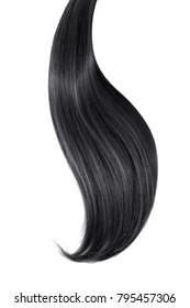 Black hair isolated on white background