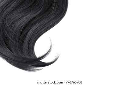 Black hair isolated on white background