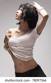 black hair woman dance, studio shot