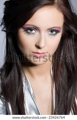 Black Hair Woman Green Eyes Portrait Stock Photo Edit Now 23426764