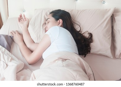 Black hair woman Sleep happily