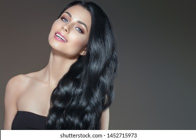 Black hair womancurly long healthy hairstyle female portrait