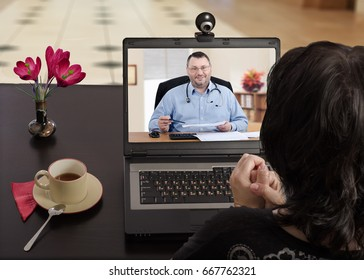 Black haired woman sits at a cafe table and nervously consults telemedicine doctor by laptop computer with her back to camera. In monitor, physician carefully reviews her medical laboratory results