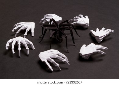 Black Halloween Background with White Skeleton Hands