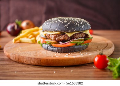 Black Hamburger with meat cutlet