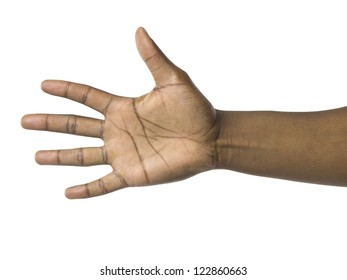 Black hand gesturing number five over a white background