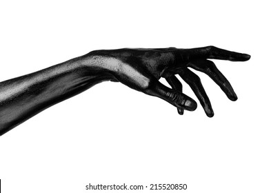 Black hand on white background, isolated, paint