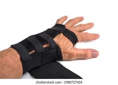 Black hand splint on a white background