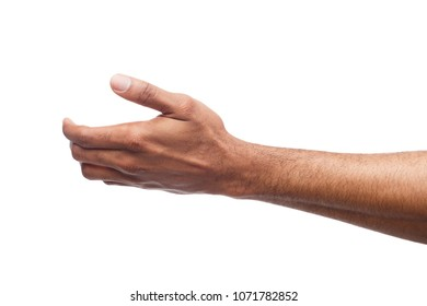 Black hand with virtual object isolated on white background. African-american man holding card, phone or other, void