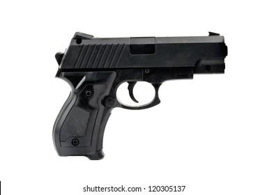 black handgun is isolated on white