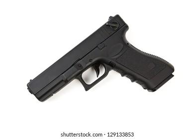 black handgun isolated on white